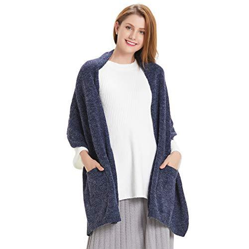 Hanerdun Womens Thick Knit Wrap Soft Warm Shawl Winter Scarf With Pocket Navy Blue ,ONE SIZE (Cozy Fleece Scarf)