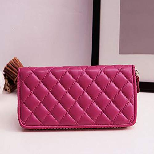 Huasen Evening Bag Women's Leather Bag Sheepskin Long Wallet Multi-Card Seat Clutch Leather Wallet Money Clip Suitable for Many Scenes Party Handbag (Color : Rose) ()