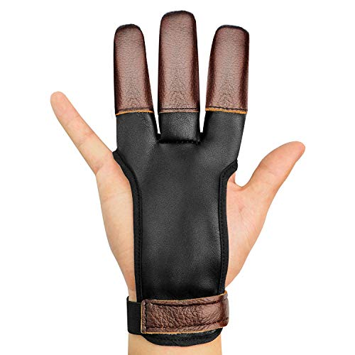 JKER TECH Archery Gloves Three Finger Shooting Genuine Cow Leather Protector for Experienced Archer Adult Learner (Cow Leather M(2.7