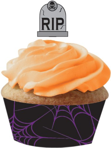 12-Count Cupcake Wrappers with Plastic Gravestone Picks, Halloween (Rip Gravestone Halloween)
