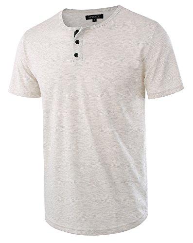 Mens Waffle Knit Tees - HETHCODE Men's Classic Comfort Soft Regular Fit Short Sleeve Henley T-Shirt Tee H.Oatmeal/C.Blue XL