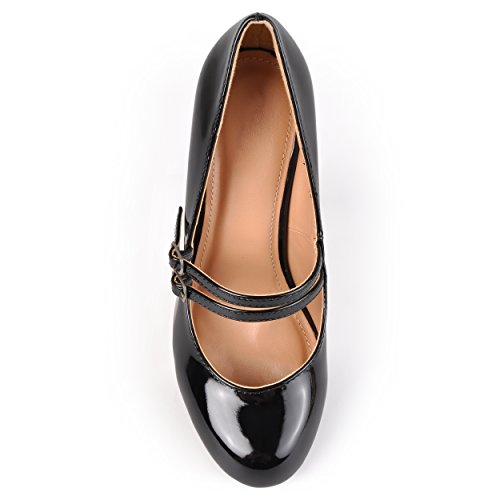 Patent Mary Leather Collection Faux Journee Jane Womens Pumps Black HFw1n8q