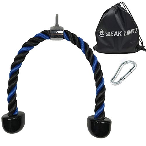 (Break Limitz Blue Tricep Rope Pull Down | 36 Inch Heavy Duty Nylon Rope, Chrome Cable Attachment with Solid Non Slip Ends | for Professional and Home Gyms | Includes Snap Hook & Carry Bag (36))