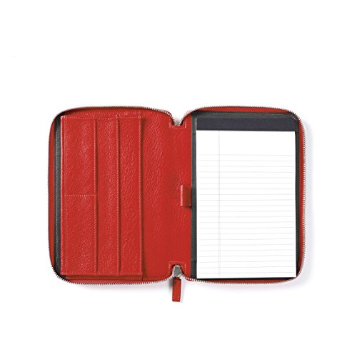 Leatherology Junior Zippered Portfolio with Pen Loop - Full Grain Leather Leather - Scarlet (red) by Leatherology