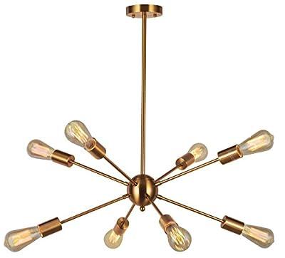 Sputnik Chandelier 8 Lights Modern Pendant lighting Brushed Nickel Industrial Vintage Ceiling Light UL Listed By VINLUZ