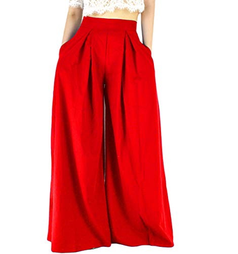 YSJERA Women's Chiffon Wide Leg Palazzo Pants Maxi Full Length Solid Gaucho Pants Culottes Trousers (S, Red 1)