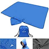 FANCYWING Outdoor Fleece Blanket XL Hooded Stadium Mat - Waterproof/Windproof Blanket for Camping, Picnic, Sports, Festival, Football, Baseball, Concerts, Grass, Dog, Beach (79 x 55 inches)