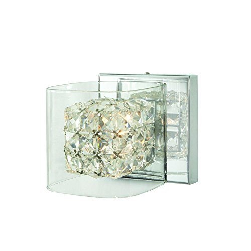 Crystal Cube 1-Light Polished Chrome Vanity Light by Home Decorators Collection