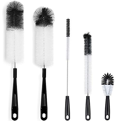 ALINK 5-Pack Bottle Cleaning Brush Set - Long Handle Black Bottle Cleaner for Washing Narrow Wine/Beer Bottles, Thermos, HydroFlask Tumbler, S'Well, Sports Water Bottles, Kettle/Lid Brush, Straw Brush