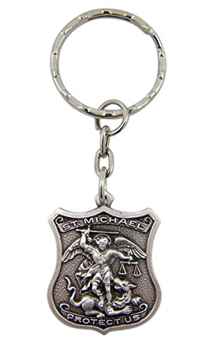 fine-pewter-patron-of-police-saint-michael-shield-shaped-medal-key-chain-1-1-4-inch