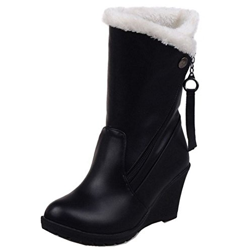Women Heels Boots COOLCEPT Warm Ankle Fur Faux Fashion High Wedges Lined Black Hxdvq1d
