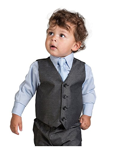 Shiny Penny Boys Grey Waistcoat Suit, Baby Boys Charcoal Suits, Boys Wedding Suits, Page Boy, 3T