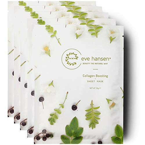 Eve Hansen Collagen Sheet Mask Set | Cruelty Free, Natural Hydrating Face Mask for Wrinkles and Dark Spots | 5X Facial Mask Sheet Face ()