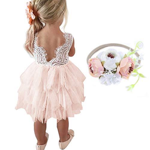 MY-PRETTYGS Girl Sleevless Beaded Peony Lace Tutu Dress,Backless Design Flower Dress with Wreath Headband (B-Pink, -