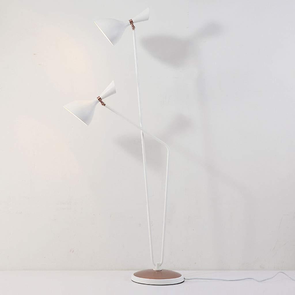 母と子フロアランプダブルヘッド錬鉄装飾垂直ランプ調整可能なLED北欧クリエイティブ屋内照明フロアランプ (色 : 白) B07P9J69C6 白