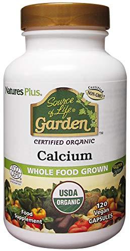 Natures Plus Source of Life Garden Calcium with AlgaeCal - 1000 mg, 120 Vegan Capsules - Bone Health Support Supplement - USDA Organic, Vegetarian, Gluten Free - 30 Servings