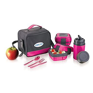 Lunch Box Bag Set for Adults and Kids ~ Pinnacle Insulated Leakproof Lunch Box Kit *Lunch Bag *Thermos *2 Lunch Containers-stainless steel interior & plastic THERMO LUNCH KIT ~ PINK~ Fresh 'N' Go