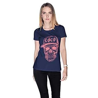 Creo Watermelon Coco Skull T-Shirt For Women - S, Navy Blue