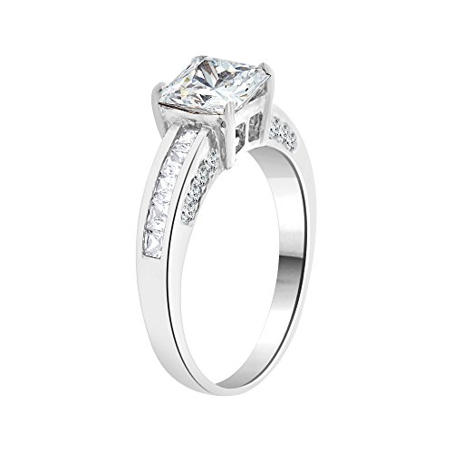 14k White Gold, Lady Wedding Ring Princess Created CZ Crystals 6mm 1.0ct Size 7 by GiveMeGold (Image #1)