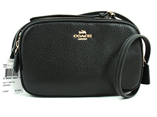 Coach Pebbled Leather Crossbody Double Zip Pouch Black F65988