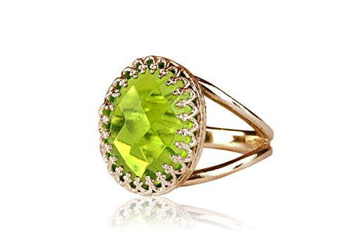 Anemone Jewelry Lovely 14k Rose Gold Ring - 6CT Peridot Ring with 14k Rose Gold-filled Band - Artisan Peridot Jewelry for Women - Birthstone for Parties, Anniversaries, Birthdays [Free Fancy Box] Checkerboard Cut Peridot Ring