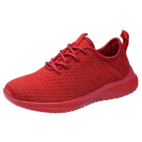 KONHILL Women's Comfortable Running Sneakers - Gold Threads Casual Athletic Sport Walking Shoes, All red, 42