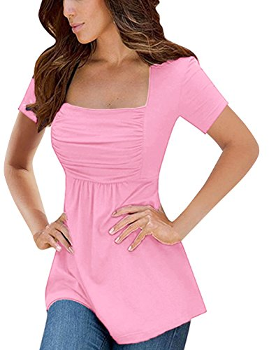 Yesfashion Womens Square Neck Ruched Tops Empire Waist Tunics Short Sleeve Pink -