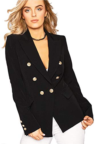 Business Leisure Slim Colore Ragazzi Puro Fit Tailleur Manica Nero Giacca Da Autunno Confortevole Bavero Outerwear Suit Lunga Donna Classiche Breasted Double Outwear r7tA70