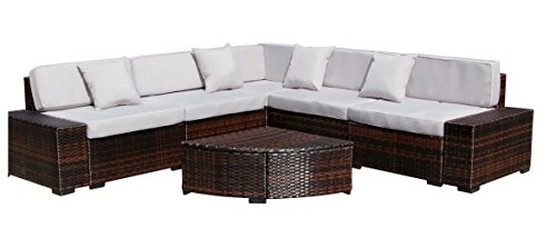 AECOJOY 6 Pieces Outdoor Patio PE Rattan Wicker Sofa Cushioned Sectional Furniture Set with Pillows