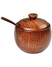 Solid Wood Seasoning jar Creative Seasoning Bottle Retro Wooden Salt jar with lid and Wooden Spoon Condiment jar can be Used for Sugar, Salt and Seasoning Storage