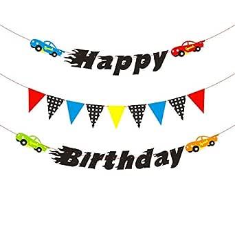 PANTIDE - Banderín de cumpleaños con diseño de coches de ...