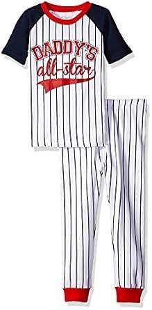 The Children's Place Boys' Short Sleeve Cotton Pajama Set, Baseball/Tidal, 0-3 Months