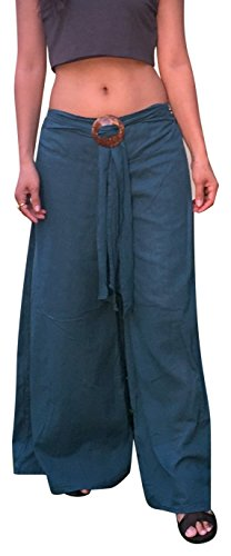 Billy's Thai Shop Thai Pants With Coconut Buckle Wide Leg Pants For Women & Men One Size Fits Most. Blue (Billy Blues Wide Leg)