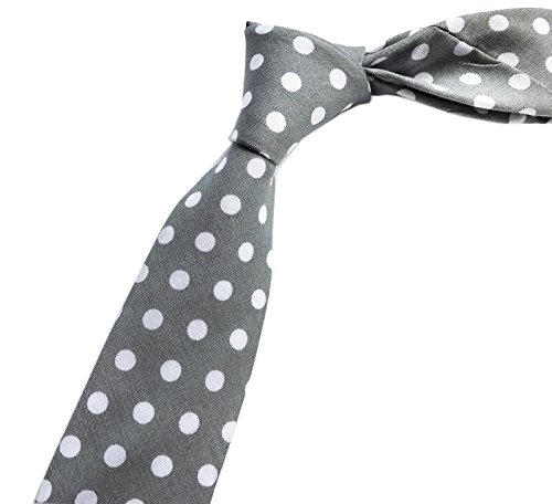 Elfeves Men Grey Solid Color with White Dots Ties Casual Fashion Dress Neckwear -