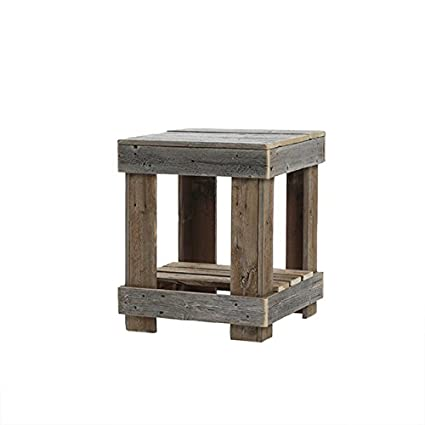 Awesome Del Hutson Designs   Rustic Barnwood End Table, USA Handmade Reclaimed Wood  (Natural)
