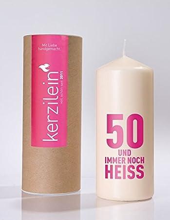 Kerzilein Flamme 50 und immer noch heiss pink Höhe 19 cm Birthday Geburstag
