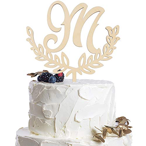 Letter M Personalized Initial Wood Cake Topper Monogram Wedding Anniversary Birthday Vow Reveal Party Decoration Supplies. (Monogram Letter A Cake Topper)