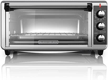 BLACK+DECKER TO3250XSB 8-Slice Extra Wide Convection Countertop Toaster Oven, Includes Bake Pan, Broil Rack and Toasting Rack, Stainless Steel/Black