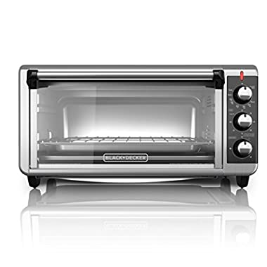 BLACK+DECKER TO3250XSB 8-Slice Extra Wide Convection Countertop Toaster Oven, Includes Bake Pan, Broil Rack & Toasting Rack, Stainless Steel/Black Convection Toaster Oven