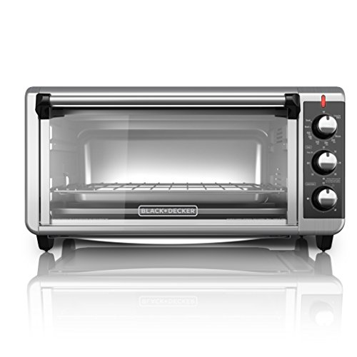 BLACK+DECKER TO3250XSB 8-Slice Extra Wide Convection Countertop Toaster Oven, Includes Bake Pan, Broil Rack & Toasting Rack, Stainless Steel/Black (Specialty Toaster)