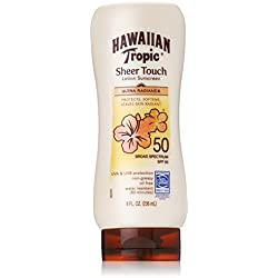 Hawaiian Tropic Sunscreen Sheer Touch Broad Spectrum Sun Care Sunscreen Lotion - SPF 50, 8 Ounce (Pack of 2)
