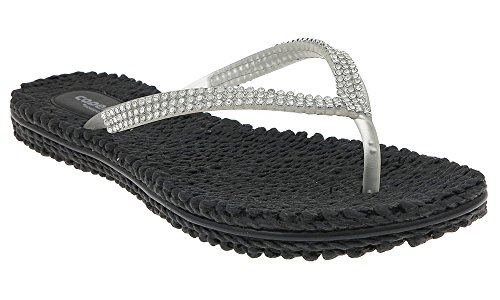 15e4a10b4e3 Capelli New York Transparent jelly thong with rhinestone trim Ladies Flip  Flop Black 10 - Buy Online in UAE.