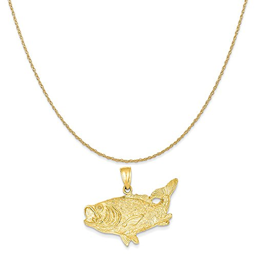 - Mireval 14k Yellow Gold Polished Open-Backed Bass Fish Pendant on 14K Yellow Gold Rope Chain Necklace, 20
