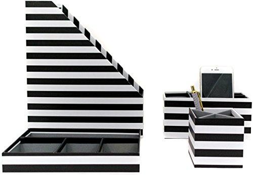 Blu Monaco Black - White Stripes Desk Organizers and Accessories - 4 Piece Desktop Cubicle Decor Set - Letter - Mail Organizer, Desk Organizer Caddy Tray Office Supplies, Pen Cup, (Scissors Magazine)