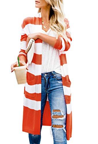 - Lovaru Womens Boho Open Front Cardigan Colorblock Long Sleeve Loose Knit Lightweight Sweaters
