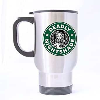 Deadly Nightshade Nightmare Before Christmas Custom Silver Travel Mug Sports Bottle Coffee Mugs Office Home Cup 14 OZ Two Sides Printed