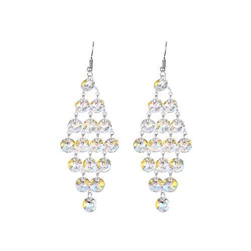 (Swarovski Elements Crystal Silver Long Chandelier Earrings Trendy Women Wedding Earrings)