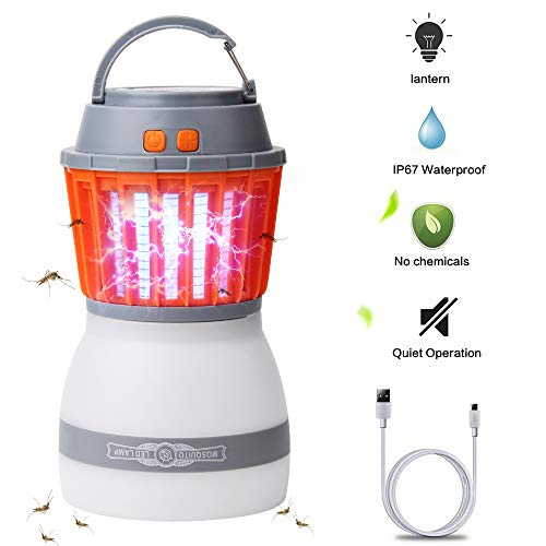 Rechargable Bug - AVJONE [Upgraded] Mosquito Lamp - 4 Light Modes, Quiet Bug Zapper,Portable IPX67 Waterproof Bug Zapper LED Lantern Rechargeable Mosquito Light with USB Cable