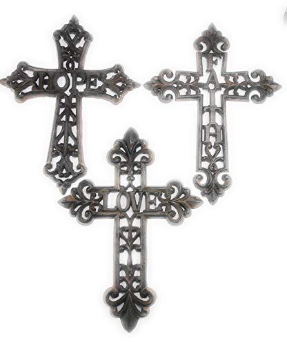 Aunt Chris' Products - Lot/Set of 3 Crosses - Heavy Cast Iron -