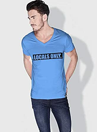 Creo Locals Only Funny T-Shirts For Men - M, Blue
